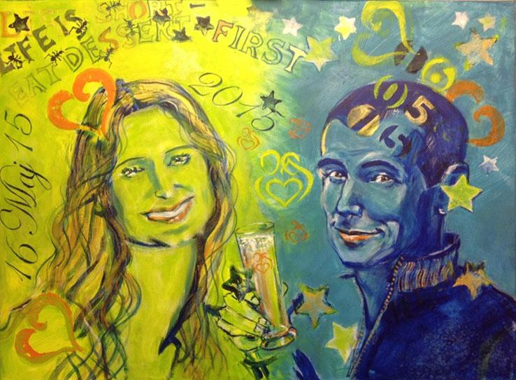 kreativ polterabend. portrætmaleri som bryllups gave